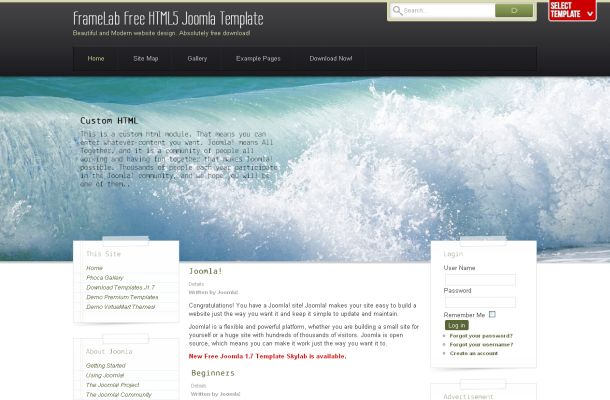 Sea Waves Grunge Free Joomla Theme Template