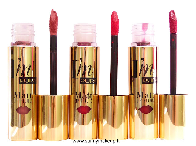 Pupa - Stay Gold!: Collezione natalizia 2015. Stay Gold! I'M Matt Lip Fluid. Rossetto liquido:  001 Pure Skin, 002 Hot Red, 003 Charming Burgundy.