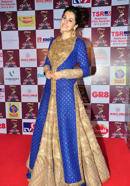 Tapsee Pannu in Blue and Beige Embroidered Floor Length Anarkali Suit