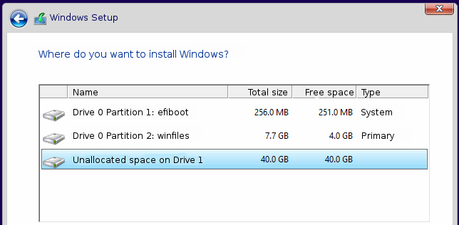 Windows partitioning tool