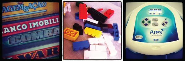 jogos de tabuleiro, bando imobiliário, imagem e ação, war, combate, lego, máquina de carboxiterapia