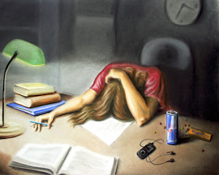 painting of teacher with head down on the papers on her desk