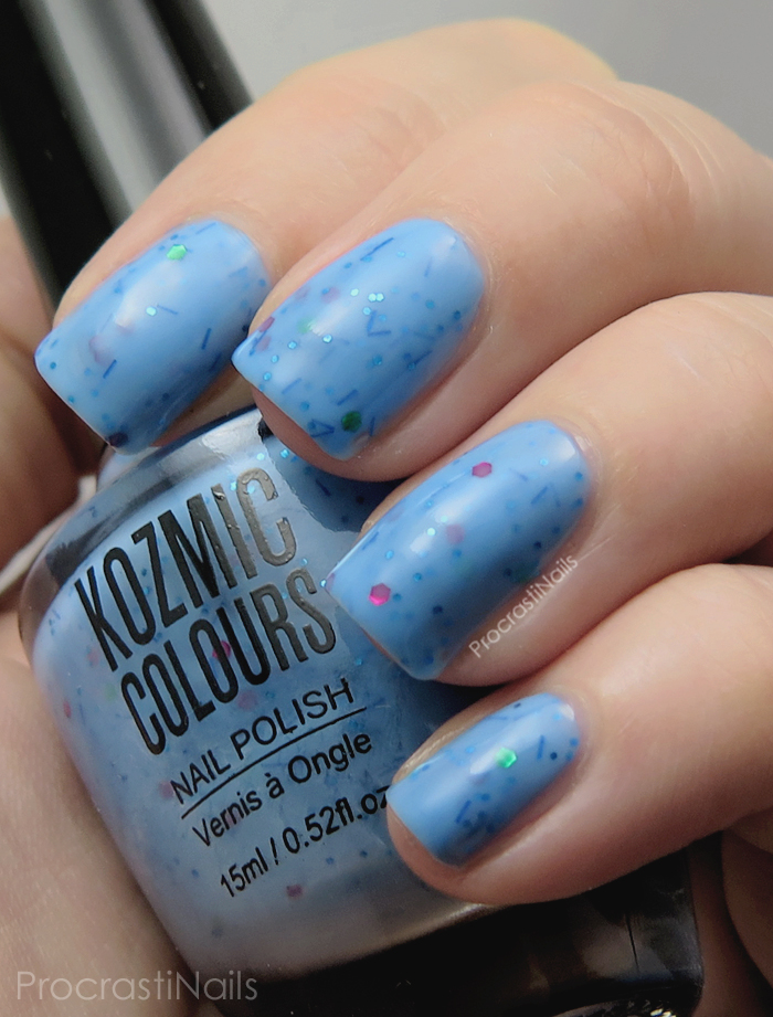 Swatch And Review // Nails On A Budget With Kozmic Colours Glitter Crelly Polishes - ProcrastiNails