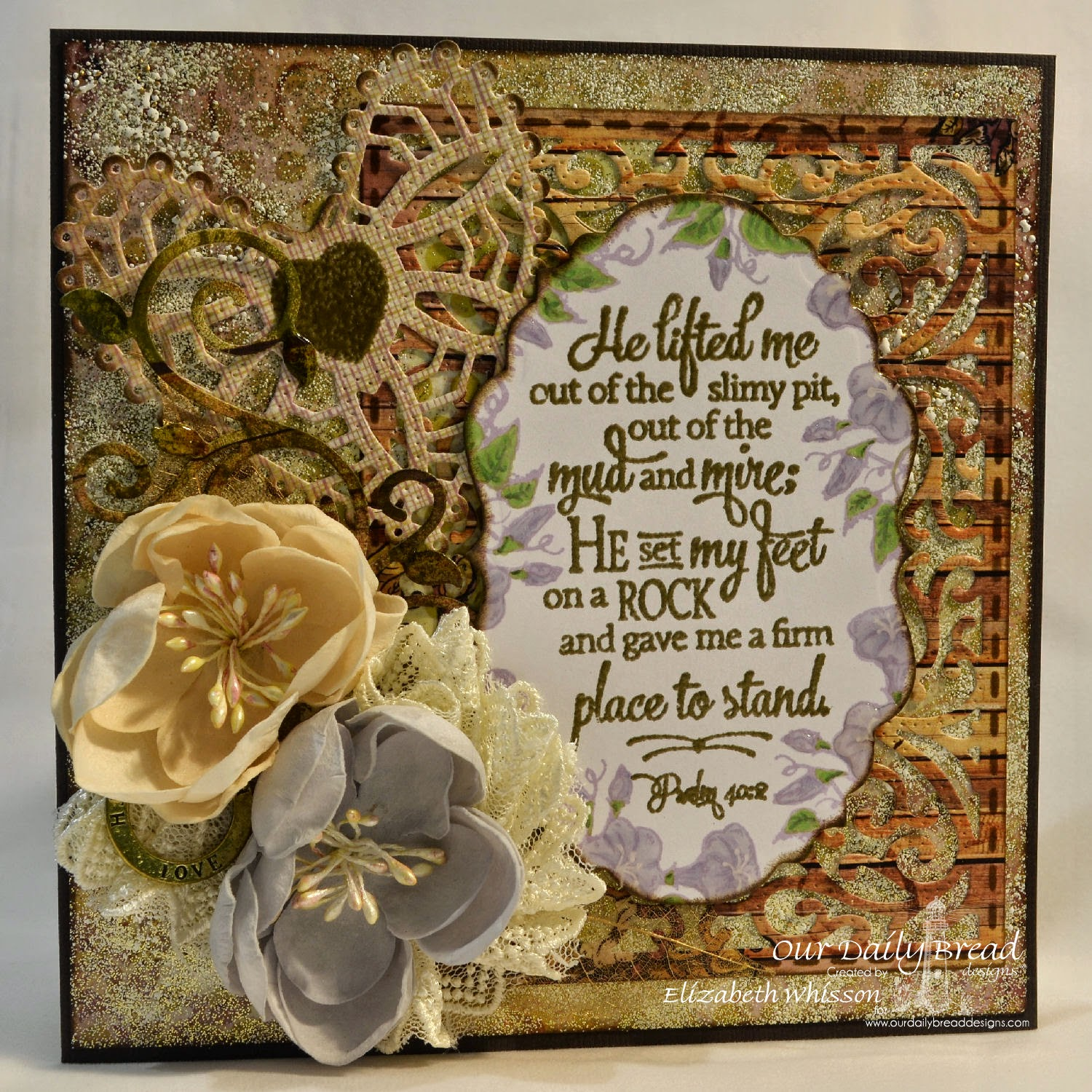 Elizabeth Whisson, Our Daily Bread Designs, ODBD, ODBDDT, ODBDSLC204, Psalm 40:2, shabby chic, Scripture Collection 12, Glory, ODBD Vintage Labels Dies, ODBD Vintage Flourish Pattern Dies, ODBD Ornate Hearts Dies, ODBD Fancy Foliage Dies