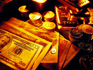Gold Bars Coins and Banknotes HD Wallpaper