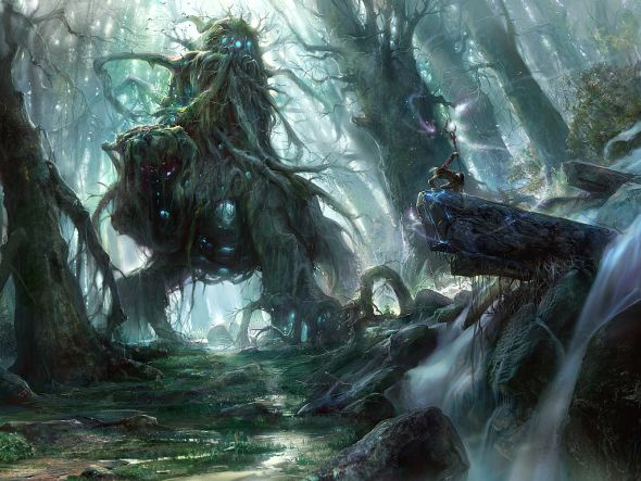Kuang Hong illustrations fantasy dark grim God of the forest