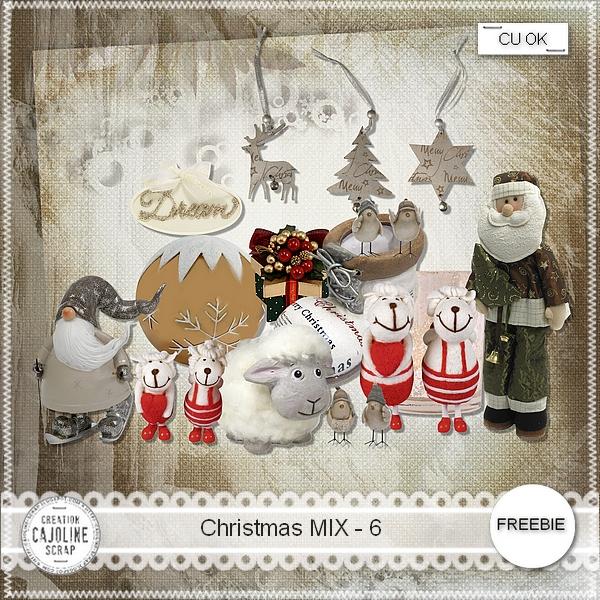Freebie Christmas Mix 6- CU from Cajoline scrap