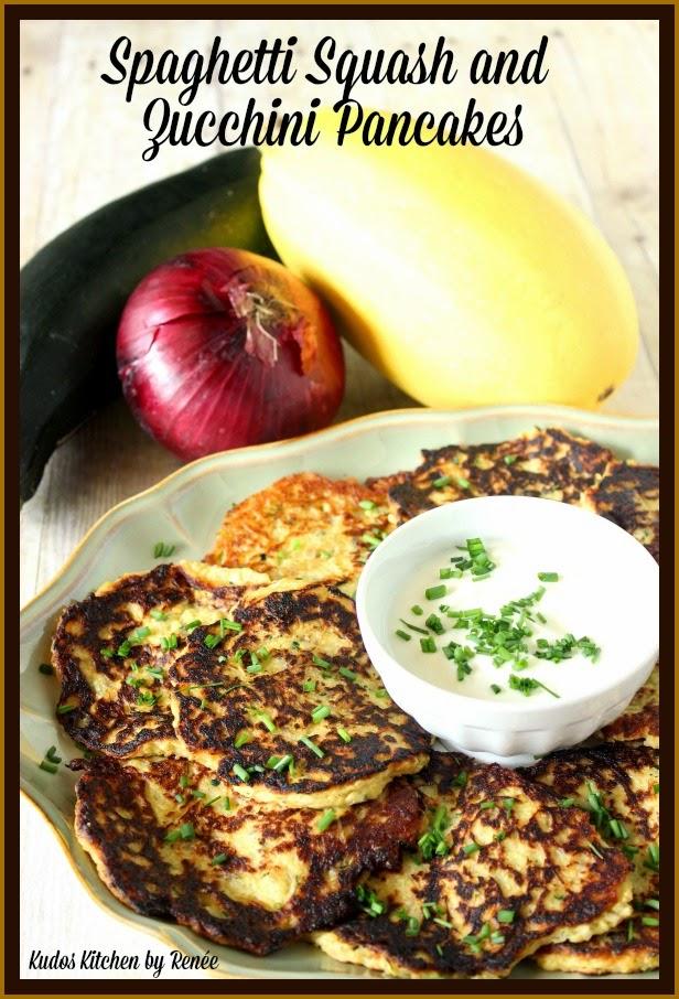 Spaghetti Squash and Zucchini Pancakes via kudoskitchenbyrenee.com