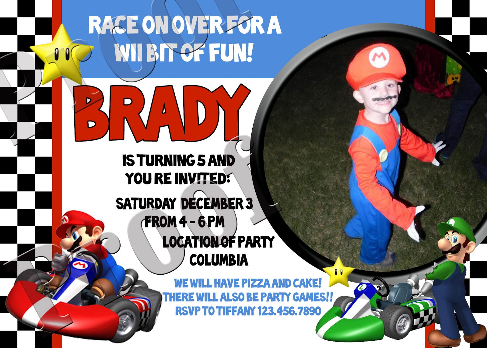 Fanci Prints by Tiffany Mario Kart Birthday Party Invitations