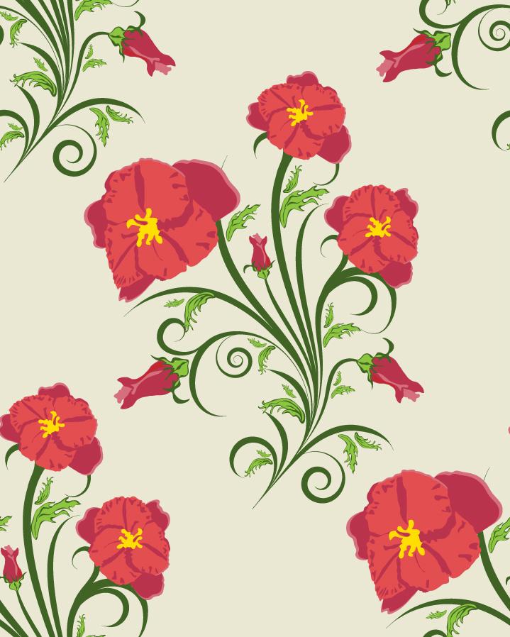 優雅な赤い花ビラの背景 exquisite flower pattern vector illustration background イラスト素材