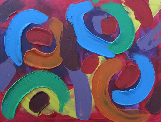 Bold and colourful abstract textured painting in acrylic 18x24