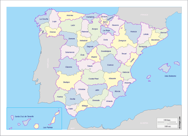 Mapa político de España - Vector