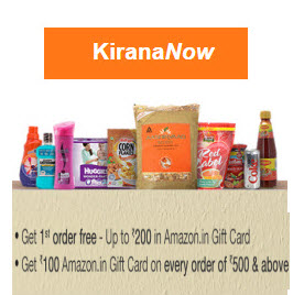 Bangalore Free Rs. 200 Amazon Gift Card on Grocery purchase ,KiranaNow  : Buy To Earn