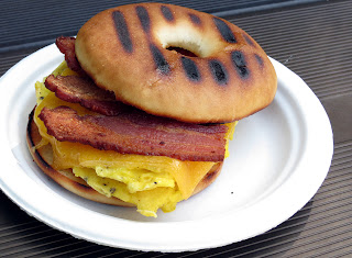 bagel sandwich for breakfast while camping