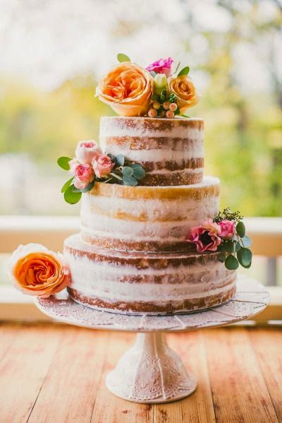 fall naked wedding cake