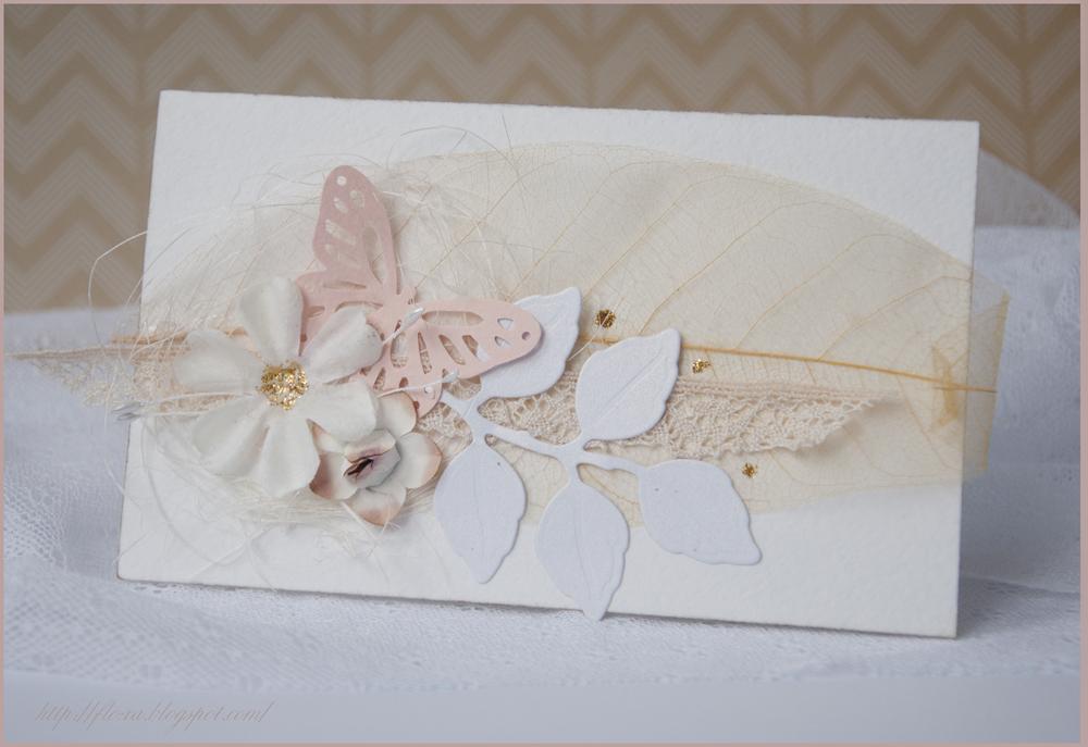 открытка на свадьбу, открытка с скелетироваными листьями, бежевая открытка,