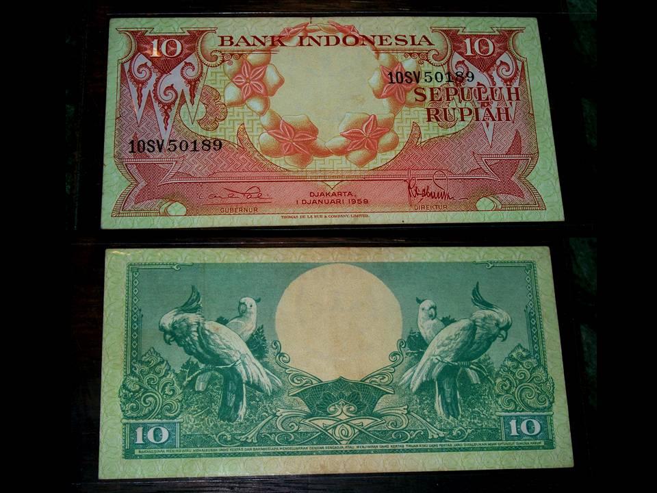... nya Mak Iyen: 10 Rupiah 1959 - Bunga/Burung Kakaktua (Sold, trims