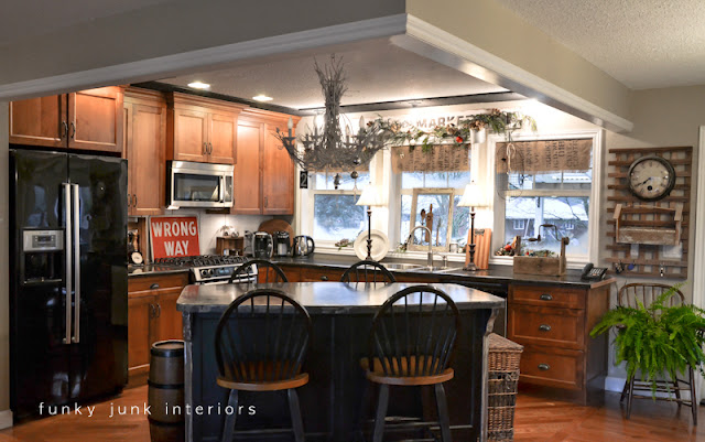 Christmas in the kitchen via Funky Junk Interiors - home tour 2012