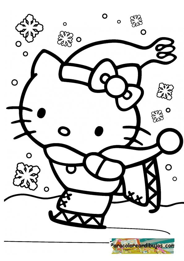 Hello Kitty De Navidad Dibujo Infantil Para Colorear De ...