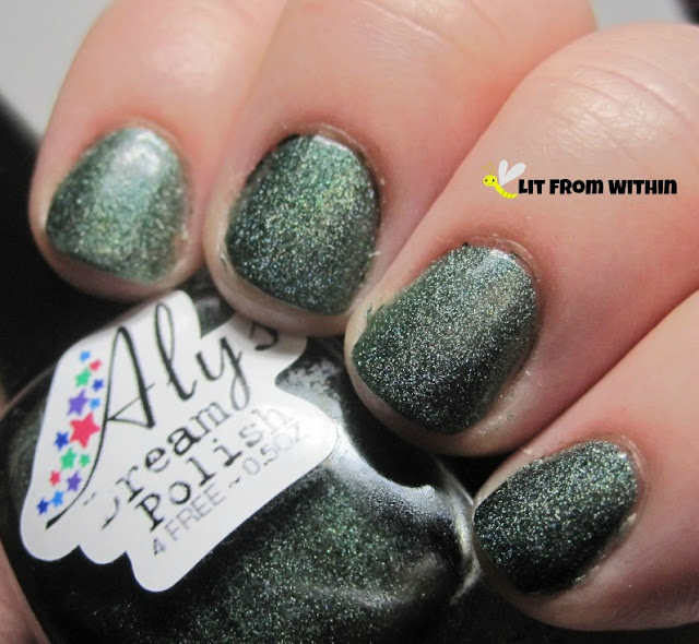 Aly's Dream Polish Dark Emerald (18), a gorgeous deep green scattered holo