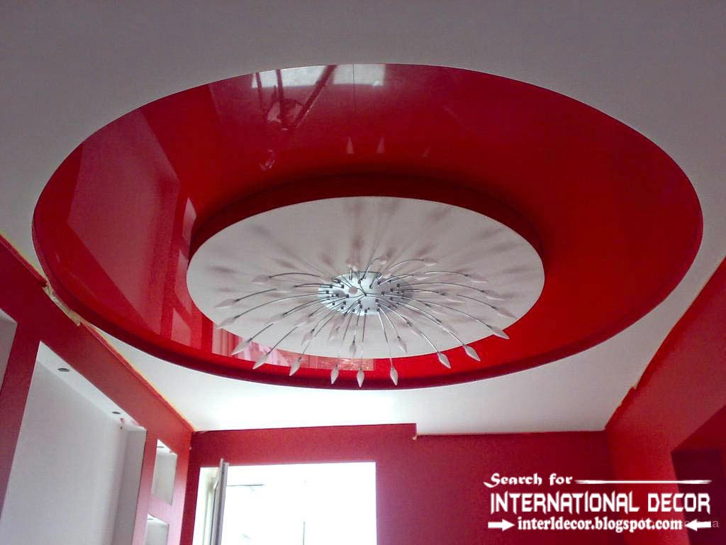 stretch ceilings in the interior of modern apartment, red stretch ceiling, tray ceiling pop design