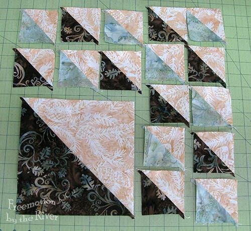 piecing the February Aurifil block