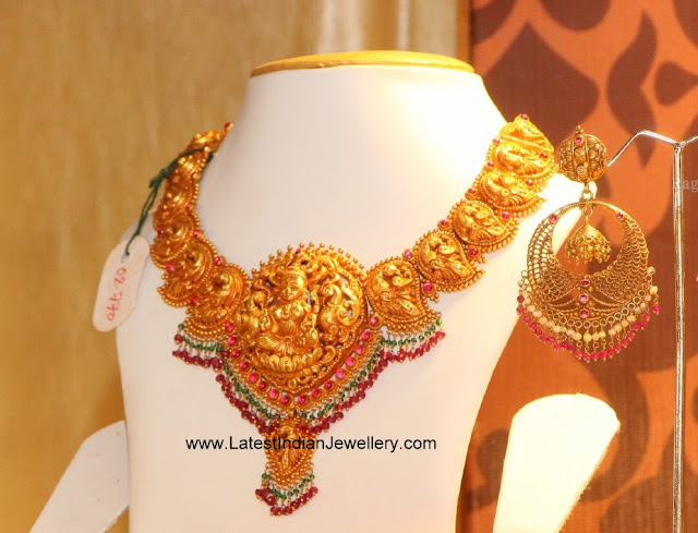 Peacock Gold Necklace Chandbalis