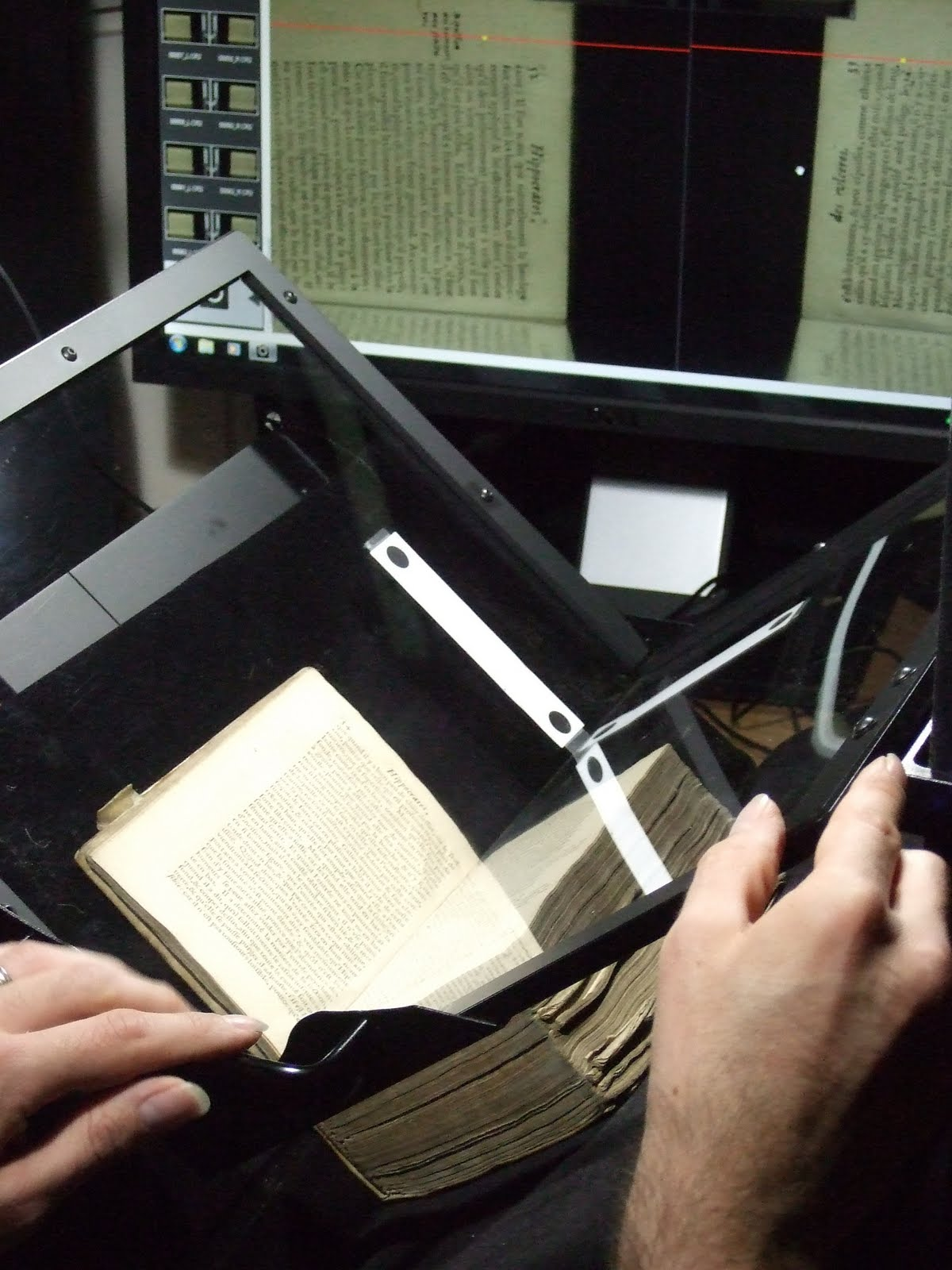 An Atiz Bookdrive imaging system in use on the collection.