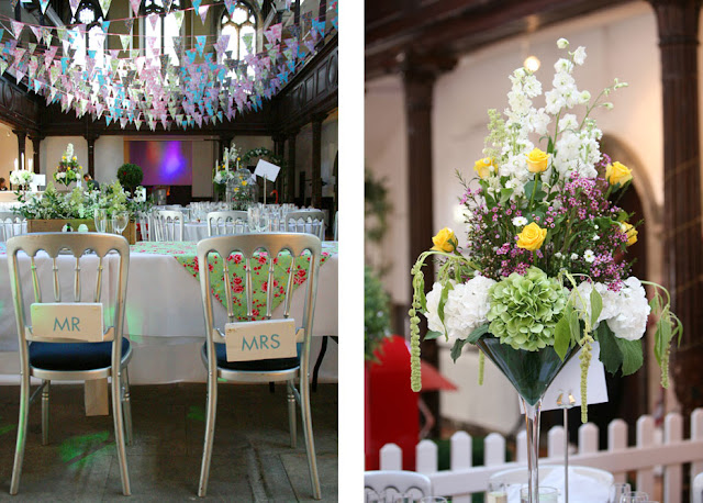 Custom Mr & Mrs wedding chair backs and table centre hire by Theme-Works Weddings