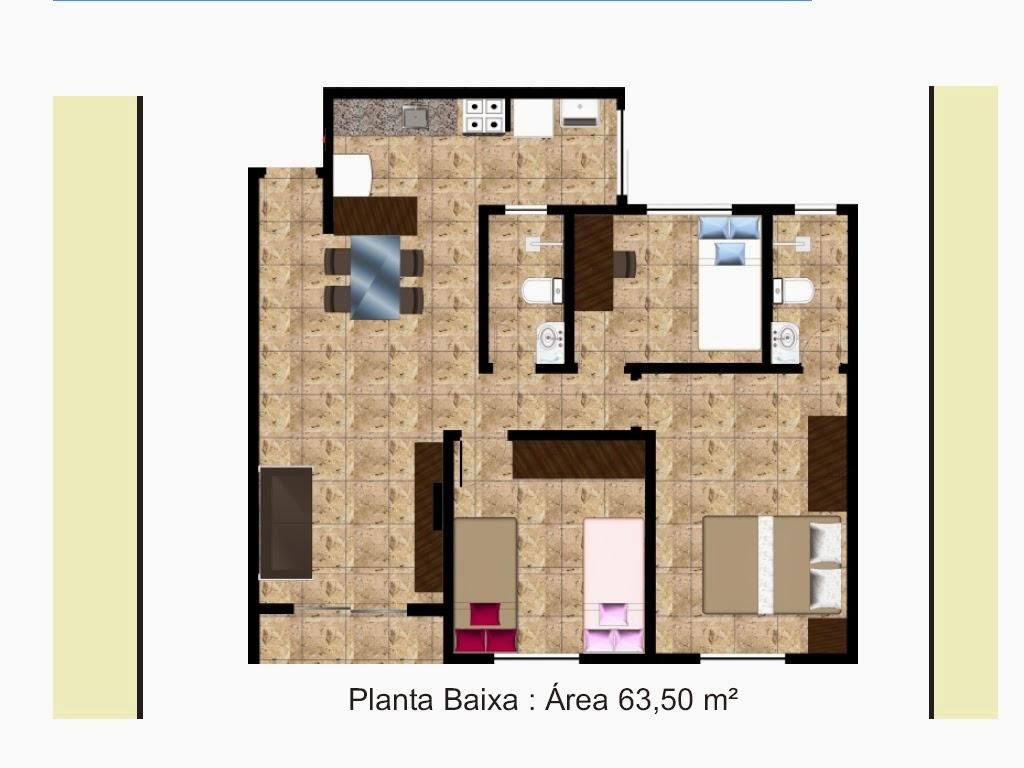 Planta De Casas Com 3 Quartos Com Suite E Cozinha Americana Finest