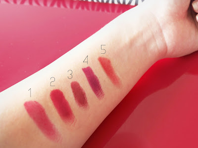 Avon Luxe Lipstick Designer Red, Revlon Colorburst Lipstick True Red, Avon Ultra Color Rich Lipstick Perfect Red, Rimmel Lasting Finish Lipstick Cutting Edge, Aura Nano Rouge Roma