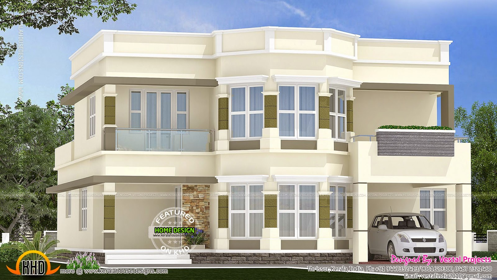 Box type house exterior elevation keralahousedesigns for Modern box type house design