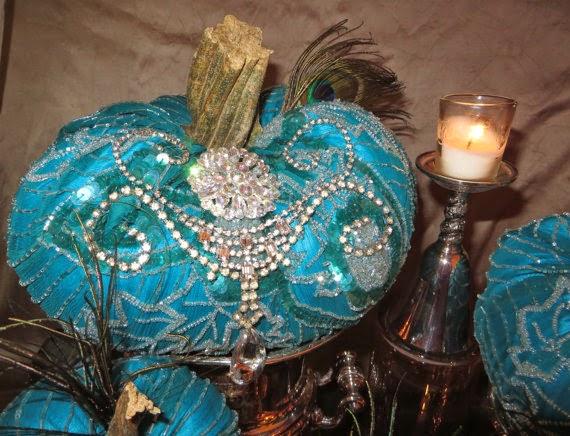 Turquoise Silk Beaded Pumpkin by Ornate Splendor via http://www.prodigalpieces.com