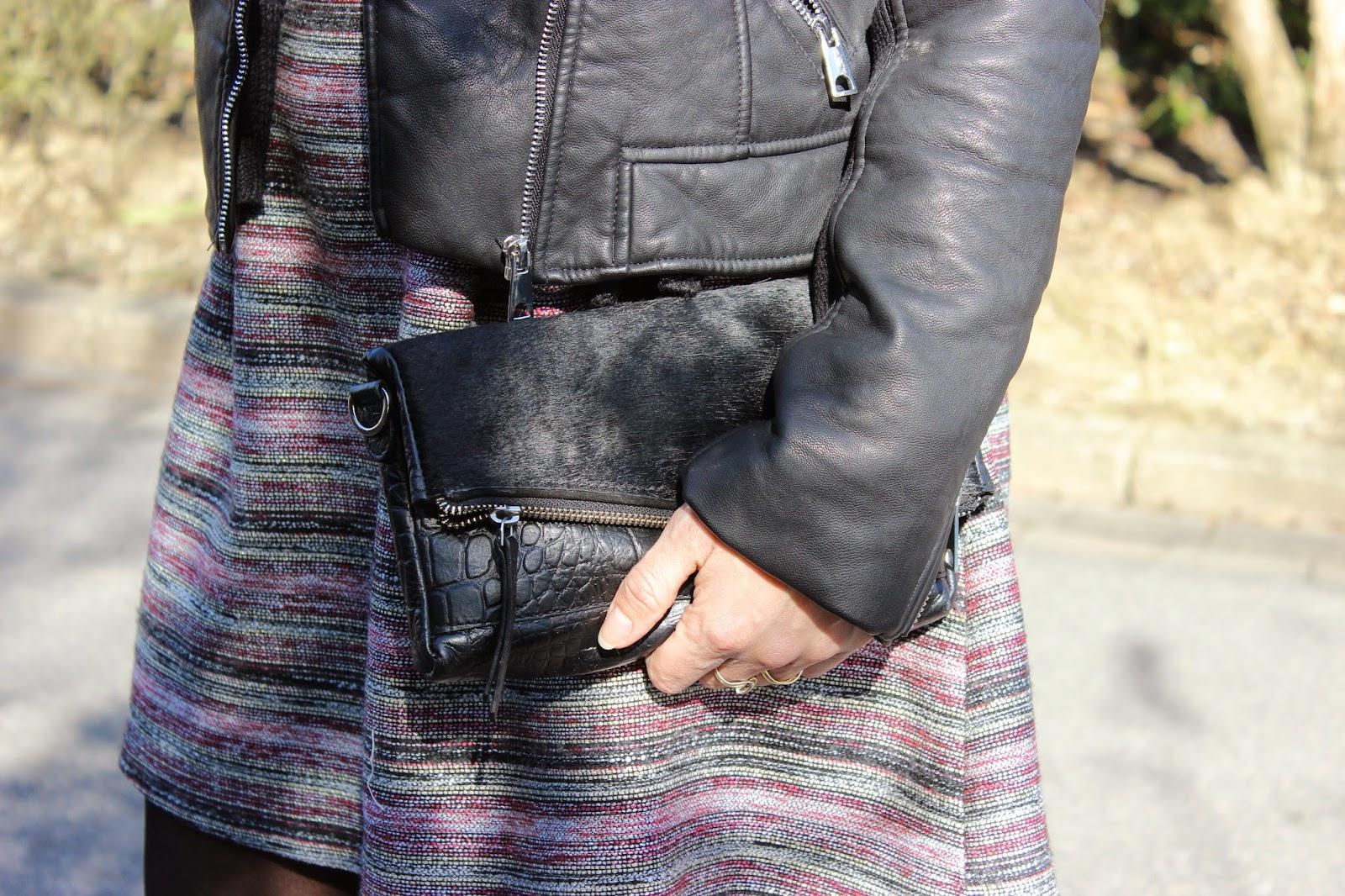 perfecto noir Zara, robe Naf Naf, pochette jonak