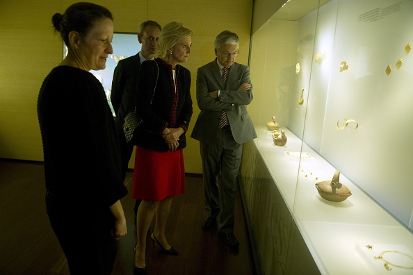 Belgium's Princess Astrid talks to members of the Modern Art Museum of Bogota