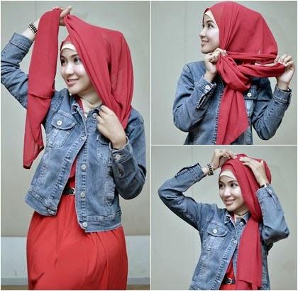 Tutorial Hijab Pashmina Sifon Praktis dan Style Santai 3 2014