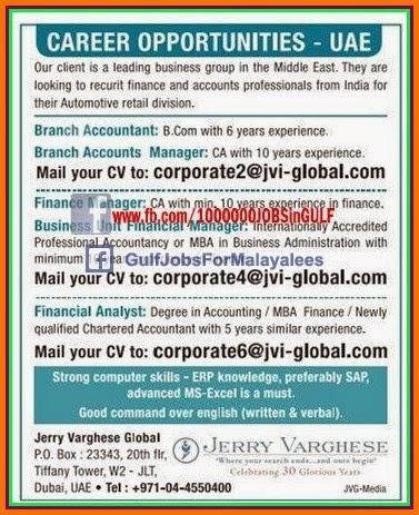 JOB VACANCIES FOR UAE - Indian E-Paper Jobs Ads