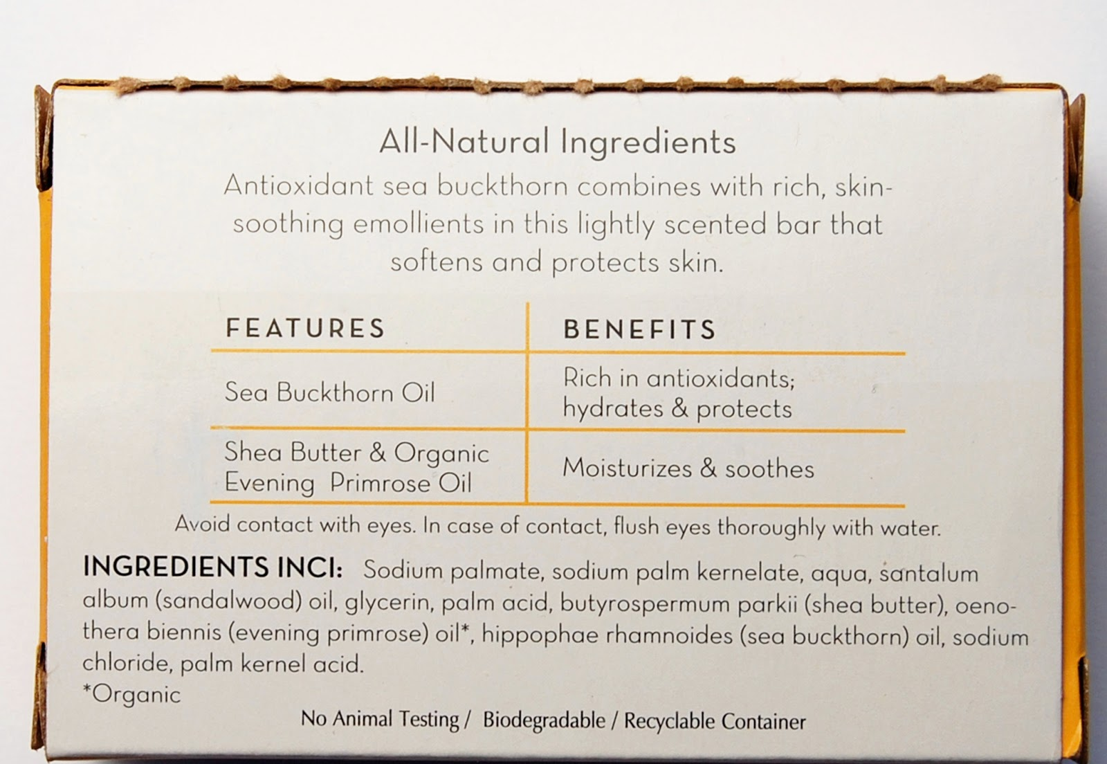 Sea Buckthorn Nourishing Bath Bar ingredients
