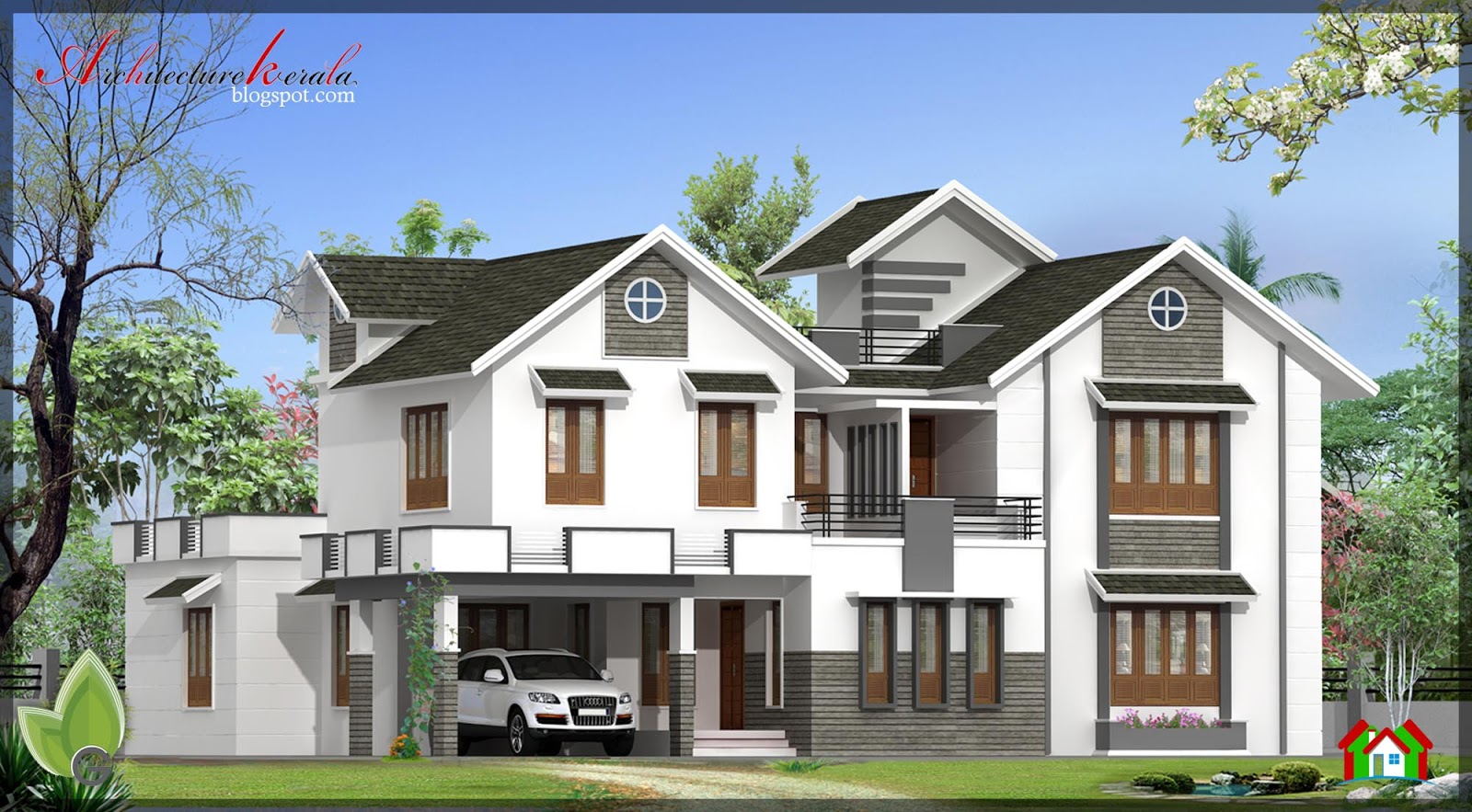3000 sq ft house elevation architecture kerala for Home designs 3000 sq ft