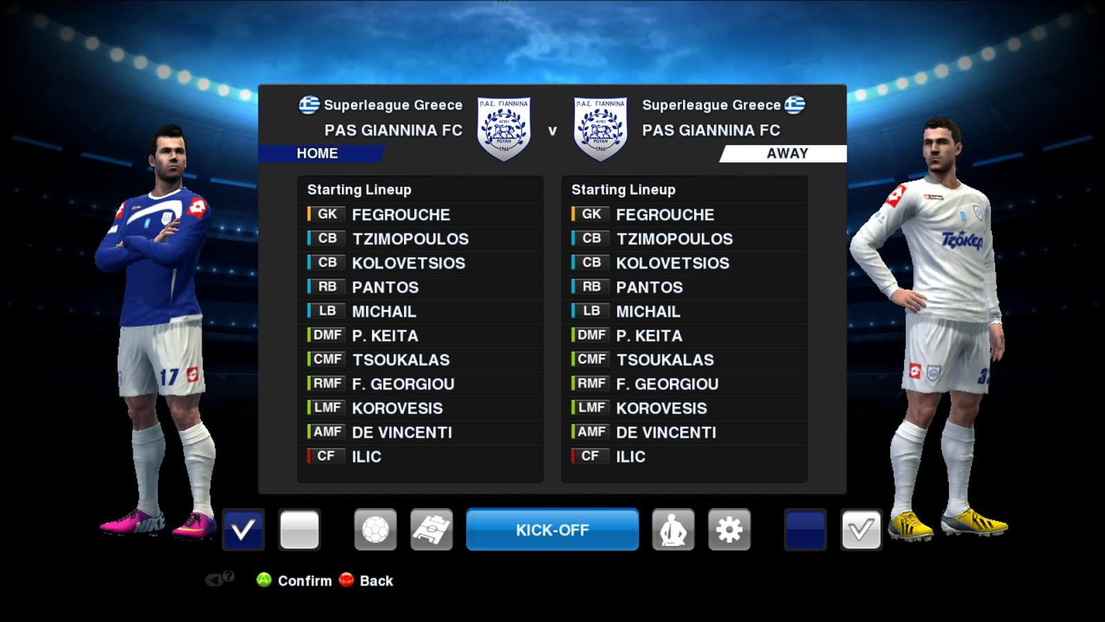 PES 2013 Superleague Greece Squads