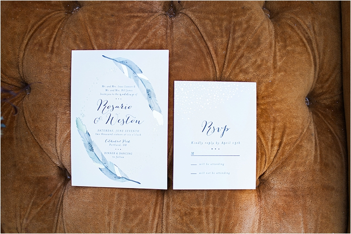Feather invitations | Poiema Photography