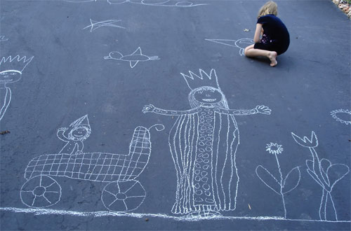 driveway art: Queen and baby
