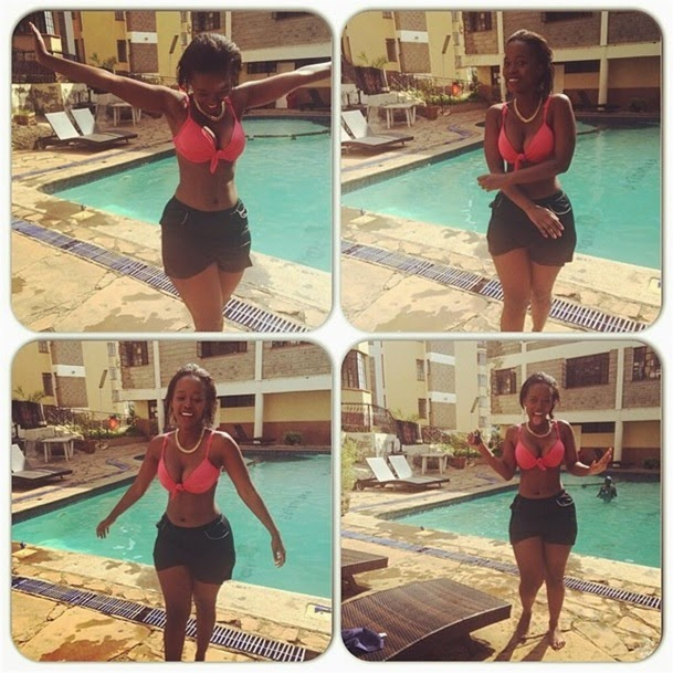 Kenya's S3XIEST lady CORAZON flaunts her killer flesh in a swimming