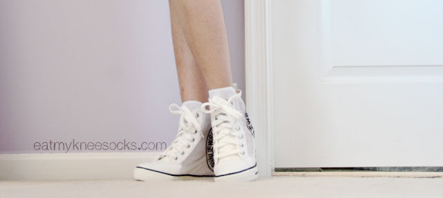 More photos of the white mesh sneaker wedges from Milanoo, perfect shoes for spring or summer.