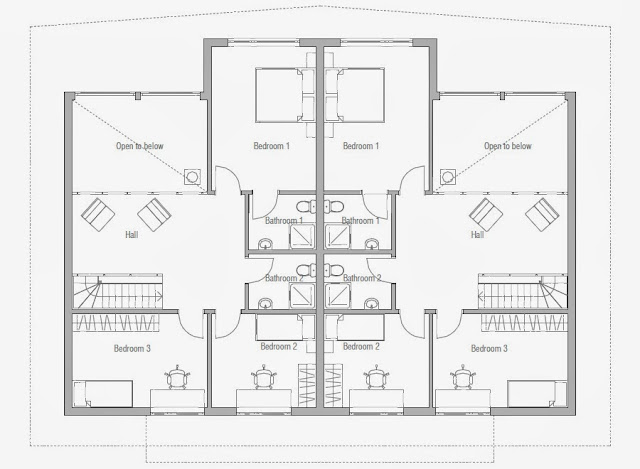 Affordable home plans economical duplex home plan ch158d for Affordable modern house plans to build
