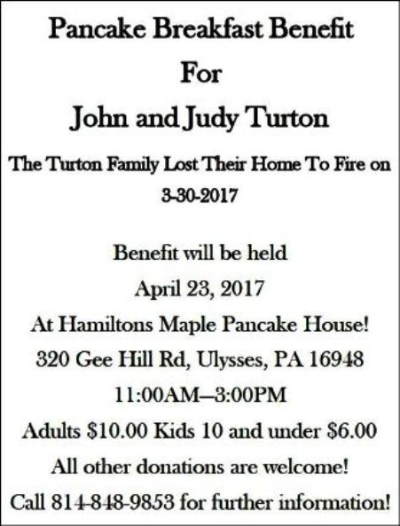 4-23 Turton Pancake Breakfast Benefit