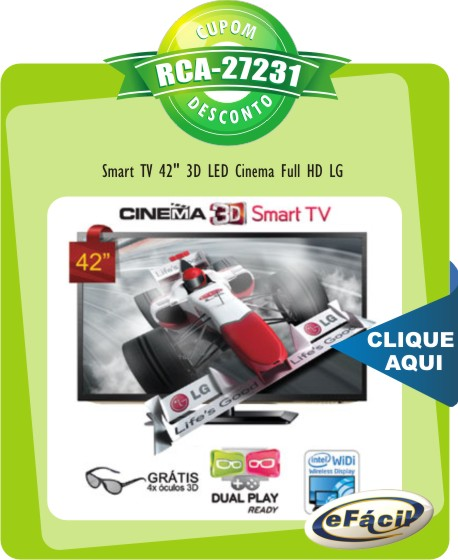 Cupom Efácil - Smart TV 42 3D LED Cinema Full HD LG