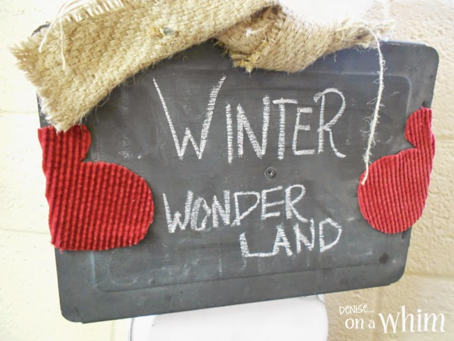 Repurposed Cake Pan Snowman with a Chalkboard from Denise on a Whim