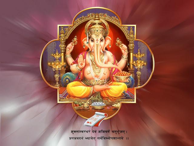 Lord Ganesha Mantra HD Wallpaper Download