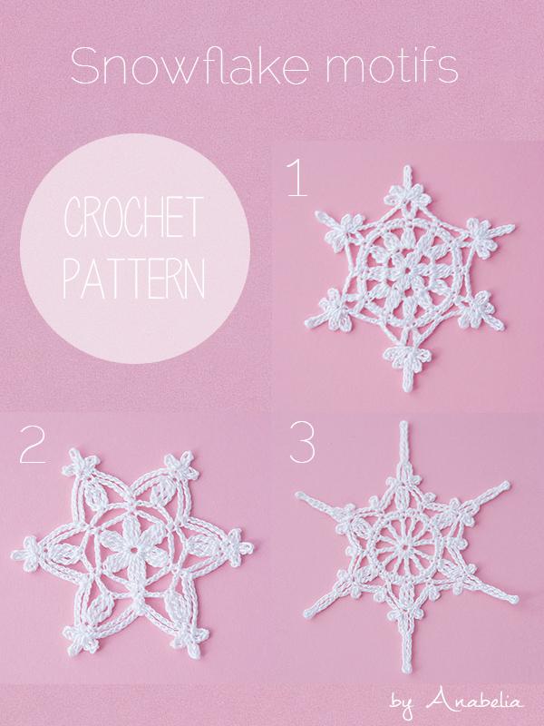 Crochet snowflake motifs 1, 2, 3 by Anabelia